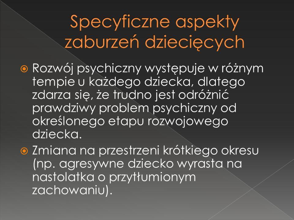 Specyficzne aspekty zaburzeń dziecięcych