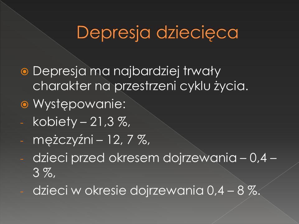 Depresja dziecięca Depresja ma najbardziej trwały charakter na przestrzeni cyklu życia. Występowanie: