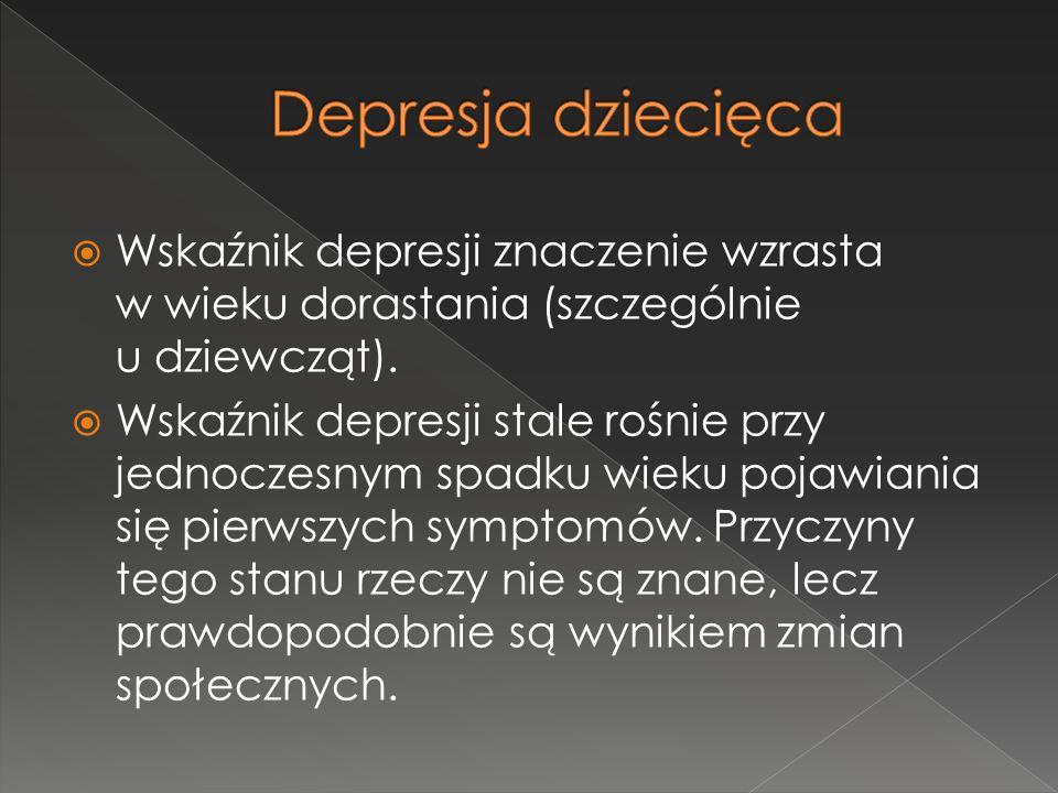 Depresja dziecięca Wskaźnik depresji znaczenie wzrasta w wieku dorastania (szczególnie u dziewcząt).