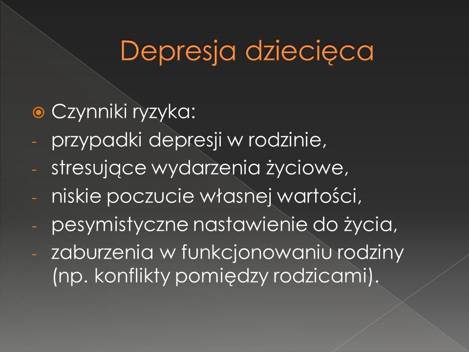 Depresja dziecięca Czynniki ryzyka: przypadki depresji w rodzinie,