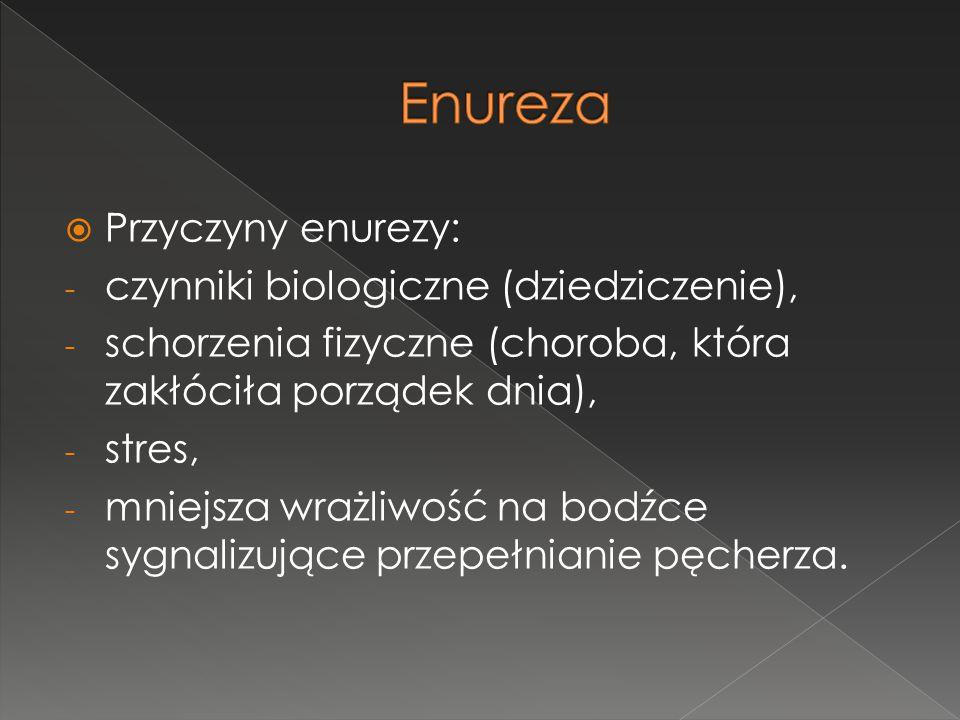 Enureza Przyczyny enurezy: czynniki biologiczne (dziedziczenie),