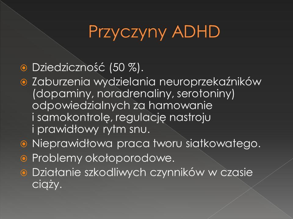 Przyczyny ADHD Dziedziczność (50 %).