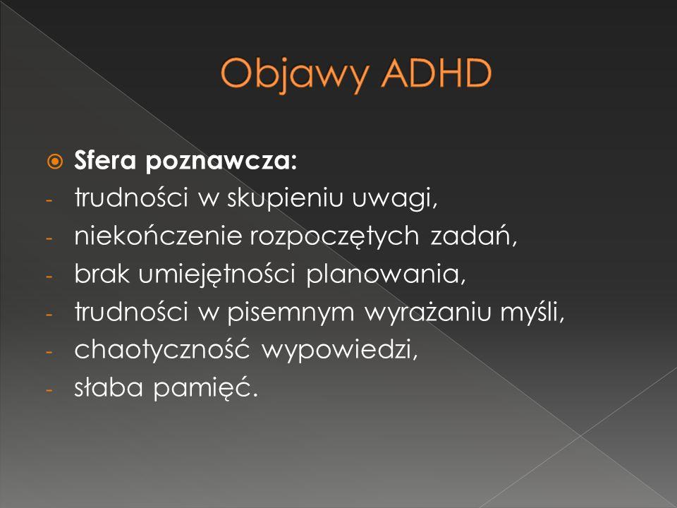 Objawy ADHD Sfera poznawcza: trudności w skupieniu uwagi,