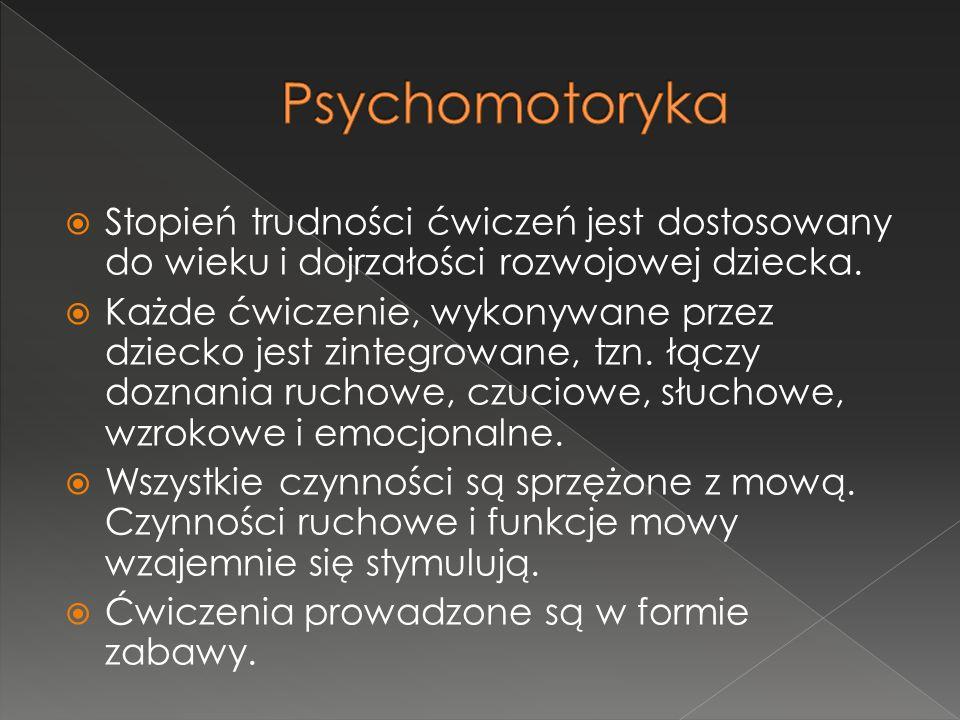 Psychomotoryka Stopień trudności ćwiczeń jest dostosowany do wieku i dojrzałości rozwojowej dziecka.