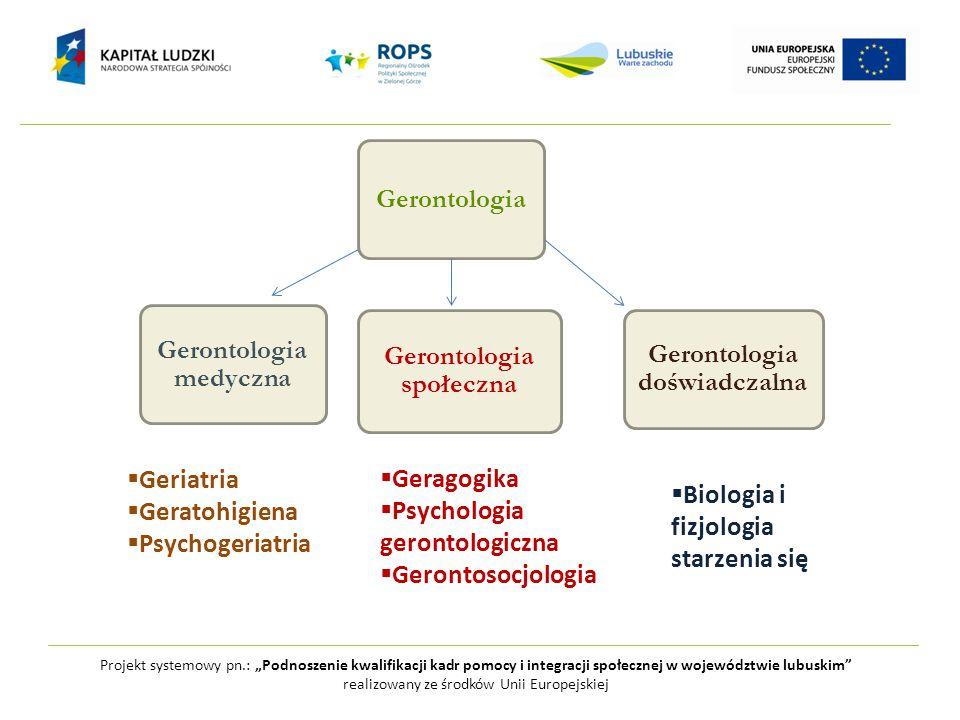 Gerontologia medyczna Gerontologia społeczna
