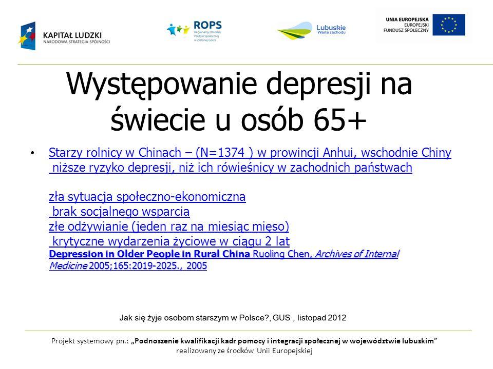 Występowanie depresji na świecie u osób 65+