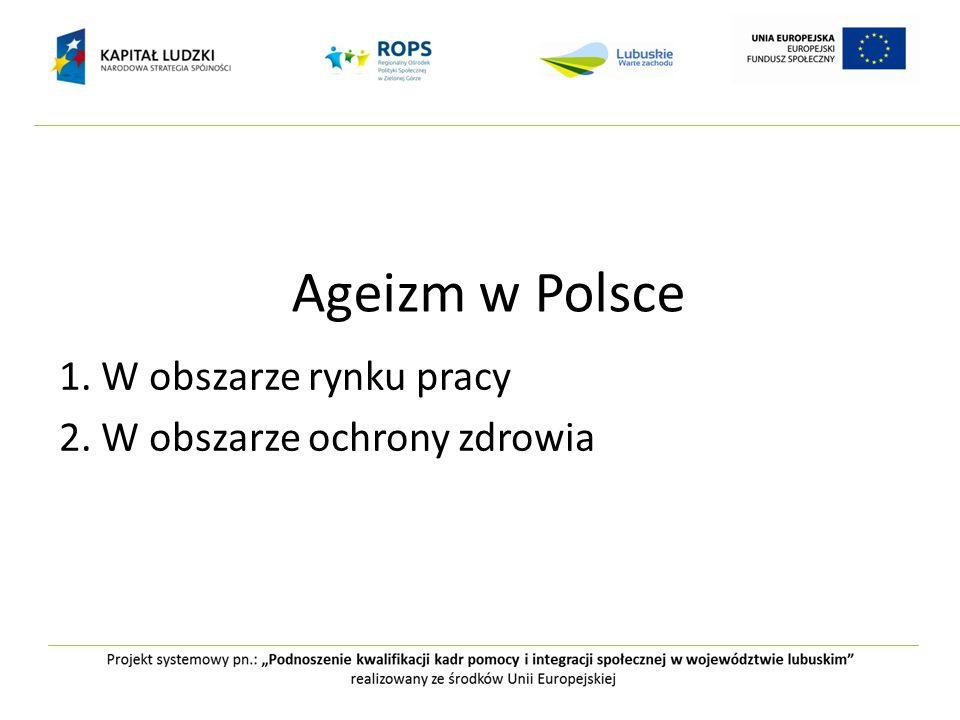 Ageizm w Polsce 1. W obszarze rynku pracy