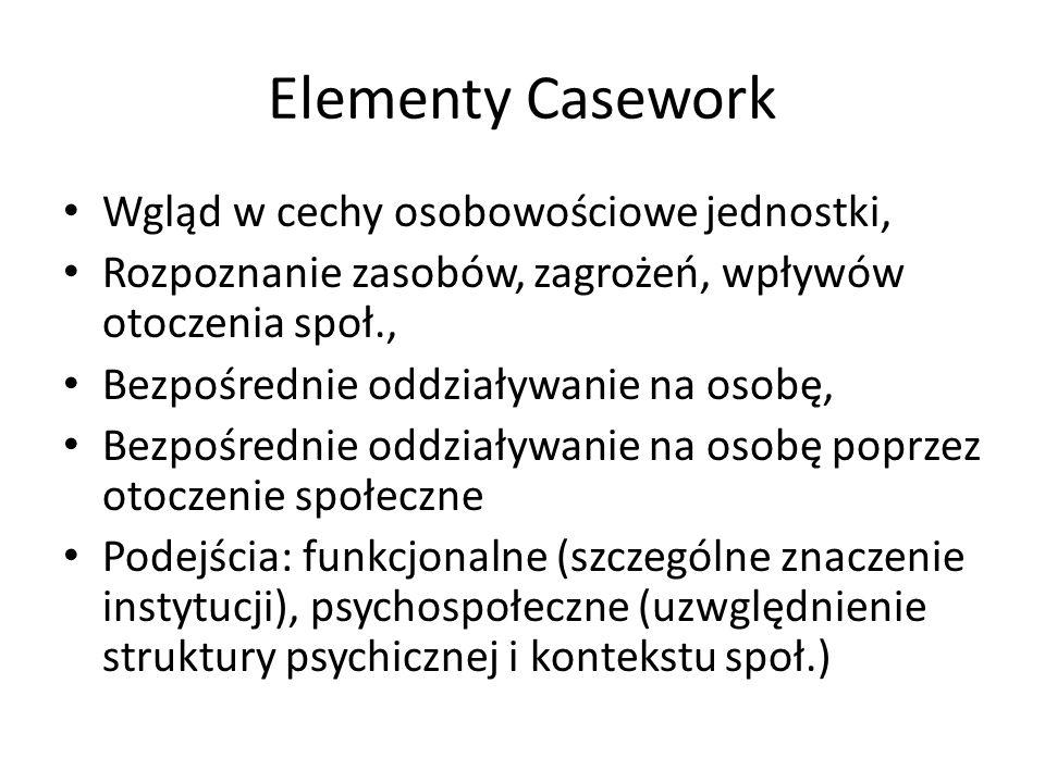 Elementy Casework Wgląd w cechy osobowościowe jednostki,
