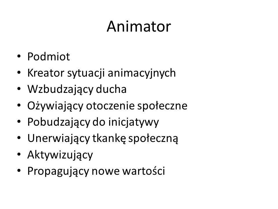 Animator Podmiot Kreator sytuacji animacyjnych Wzbudzający ducha