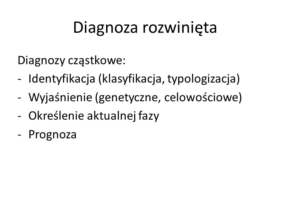 Diagnoza rozwinięta Diagnozy cząstkowe: