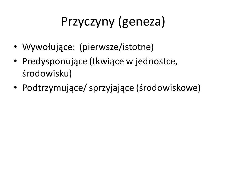 Przyczyny (geneza) Wywołujące: (pierwsze/istotne)
