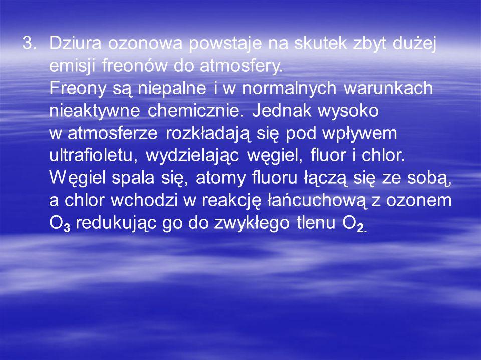 Dziura ozonowa powstaje na skutek zbyt dużej emisji freonów do atmosfery.