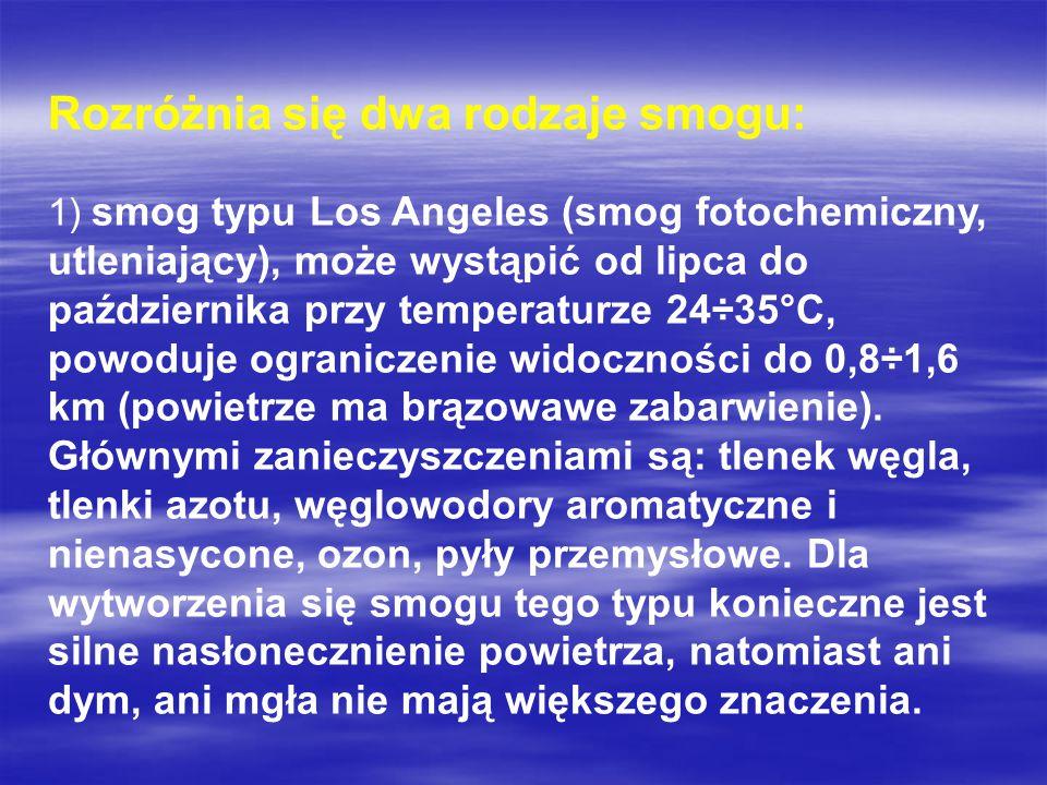 Rozróżnia się dwa rodzaje smogu: 1) smog typu Los Angeles (smog fotochemiczny, utleniający), może wystąpić od lipca do października przy temperaturze 24÷35°C, powoduje ograniczenie widoczności do 0,8÷1,6 km (powietrze ma brązowawe zabarwienie).