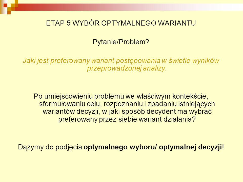 ETAP 5 WYBÓR OPTYMALNEGO WARIANTU Pytanie/Problem