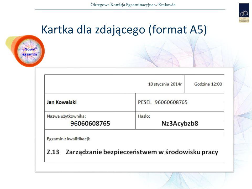 Kartka dla zdającego (format A5)