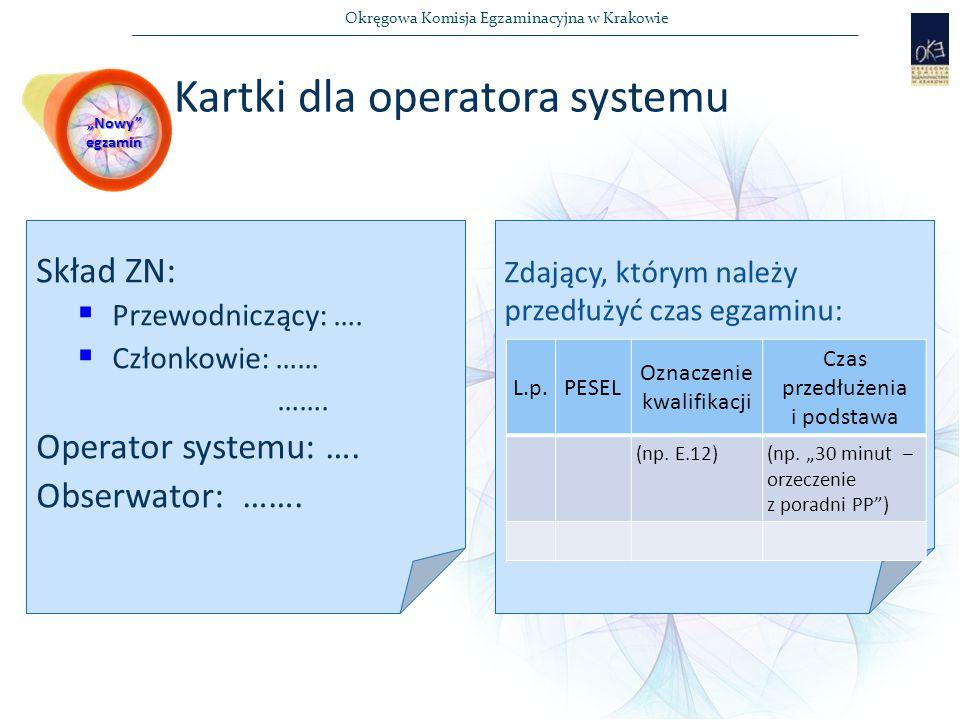 Kartki dla operatora systemu