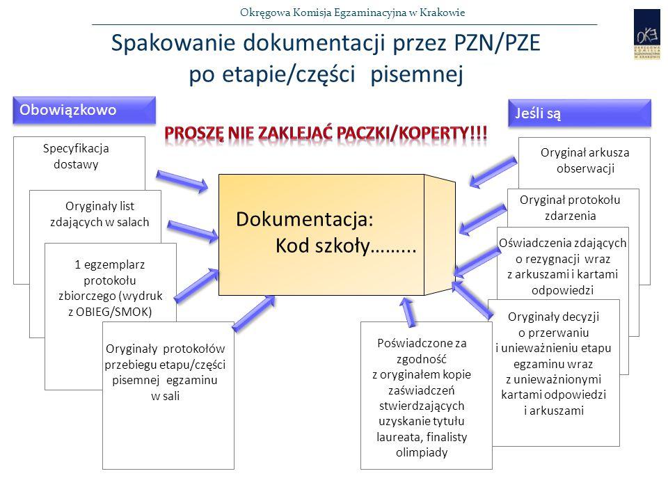 Spakowanie dokumentacji przez PZN/PZE po etapie/części pisemnej