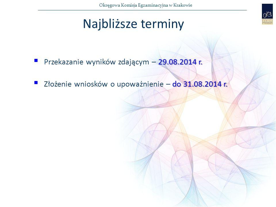 Najbliższe terminy Przekazanie wyników zdającym – 29.08.2014 r.