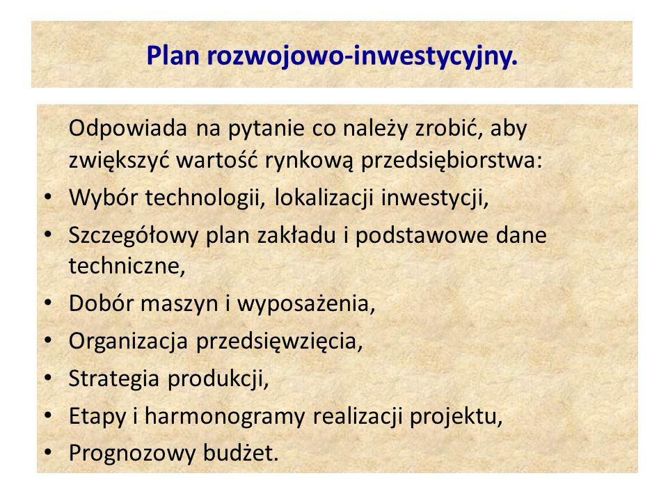 Plan rozwojowo-inwestycyjny.