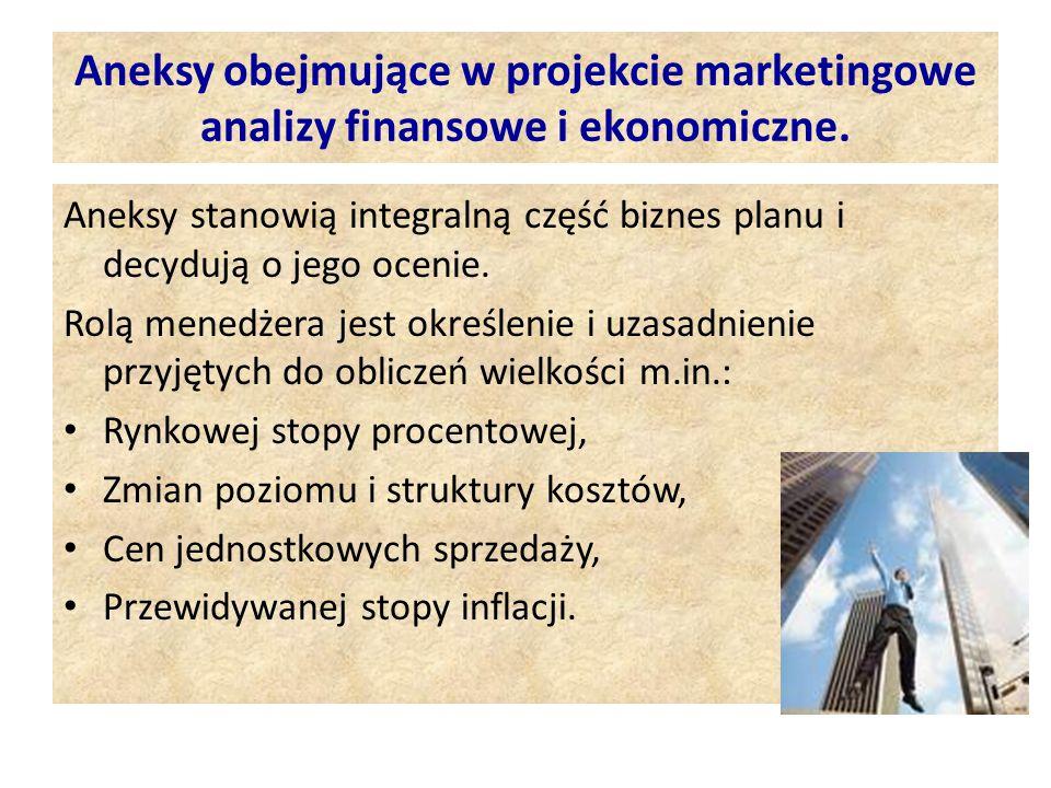 Aneksy obejmujące w projekcie marketingowe analizy finansowe i ekonomiczne.