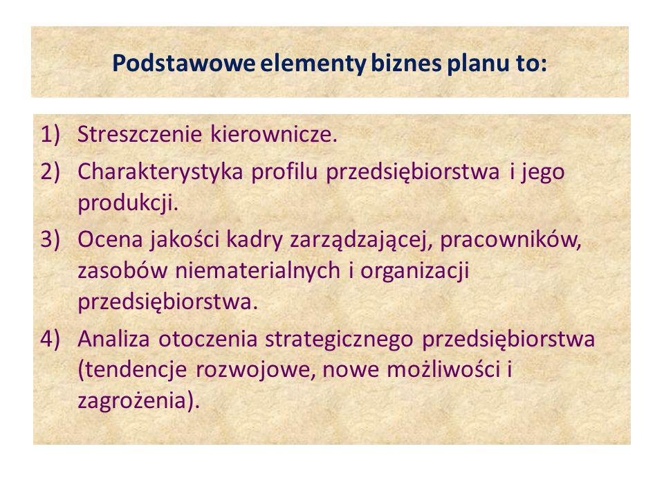 Podstawowe elementy biznes planu to: