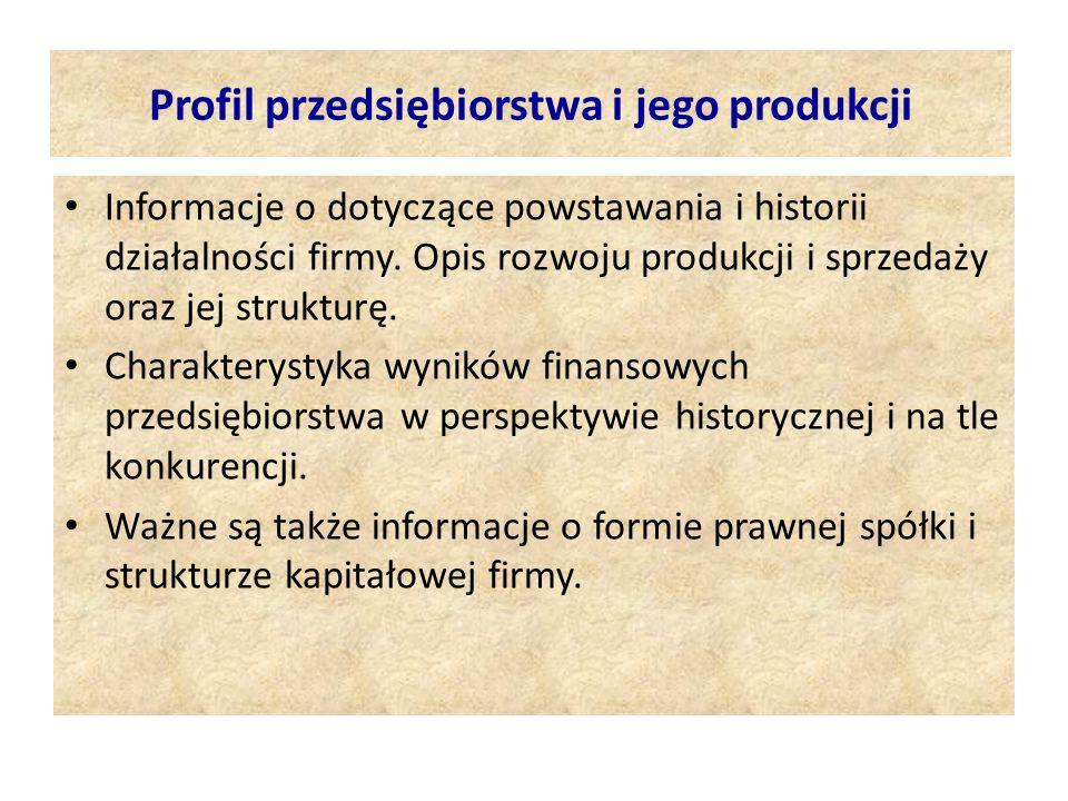 Profil przedsiębiorstwa i jego produkcji
