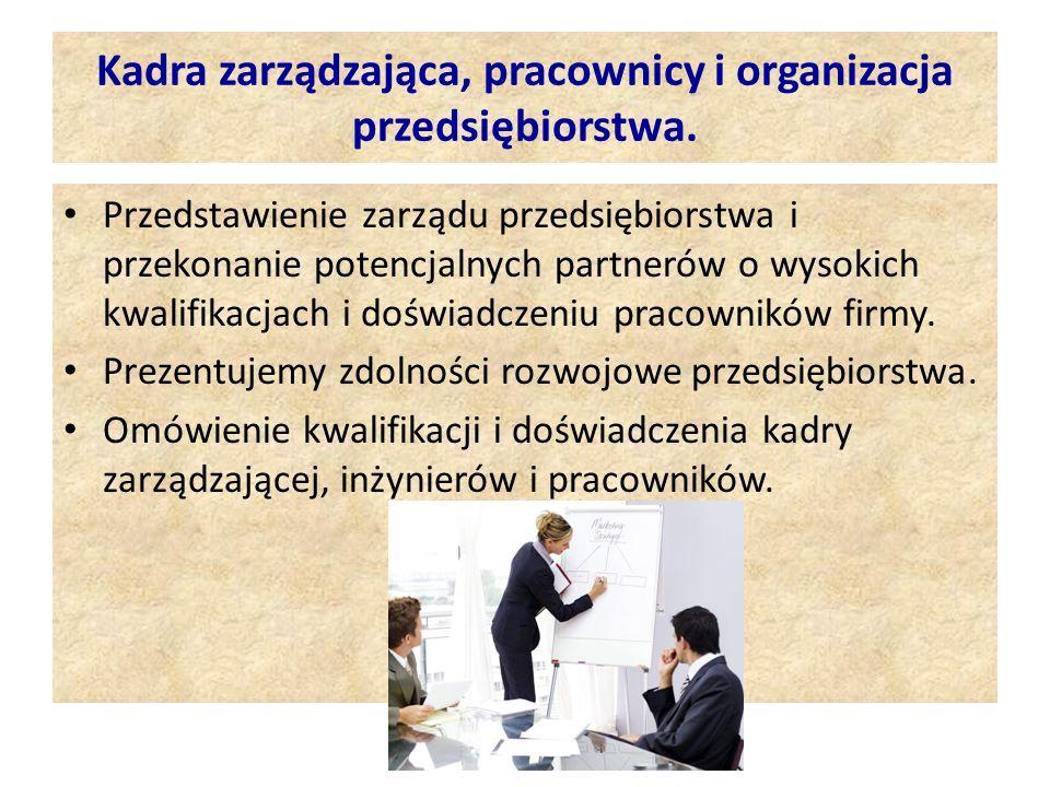 Kadra zarządzająca, pracownicy i organizacja przedsiębiorstwa.