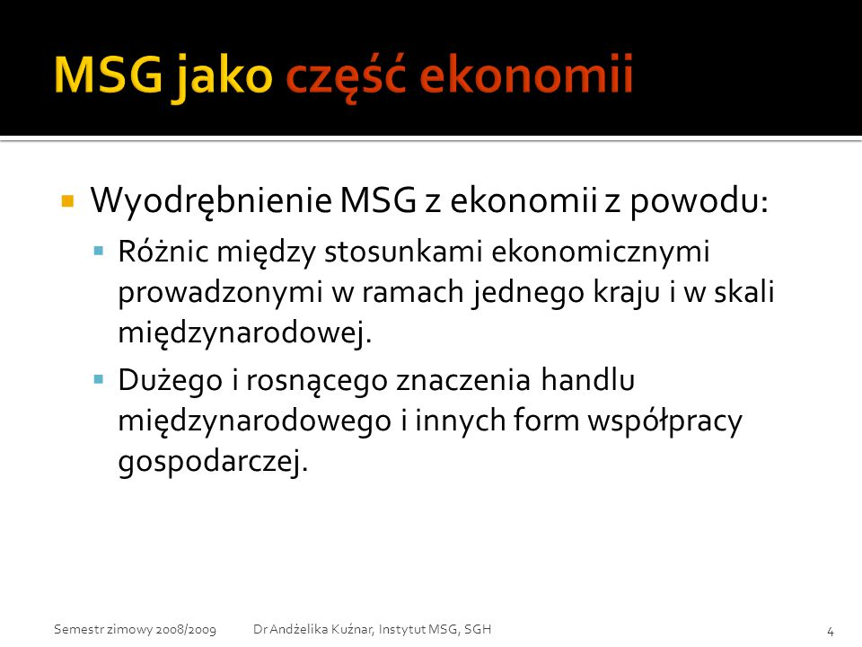 MSG jako część ekonomii