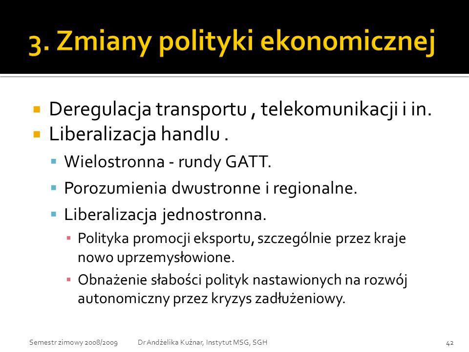 3. Zmiany polityki ekonomicznej