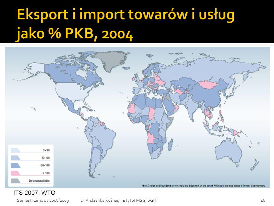 Eksport i import towarów i usług jako % PKB, 2004
