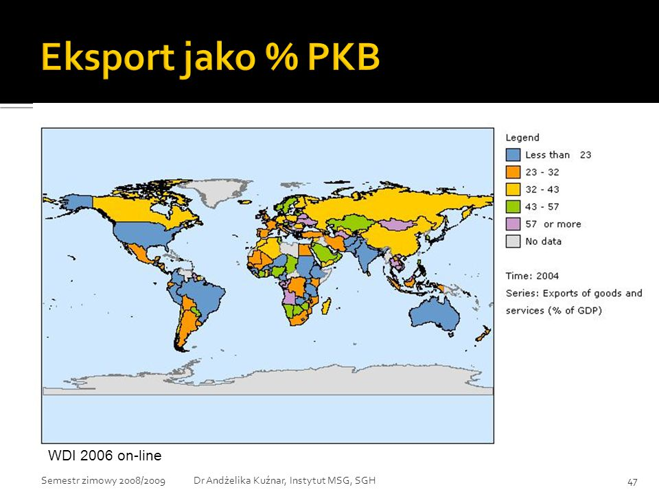 Eksport jako % PKB WDI 2006 on-line Semestr zimowy 2008/2009