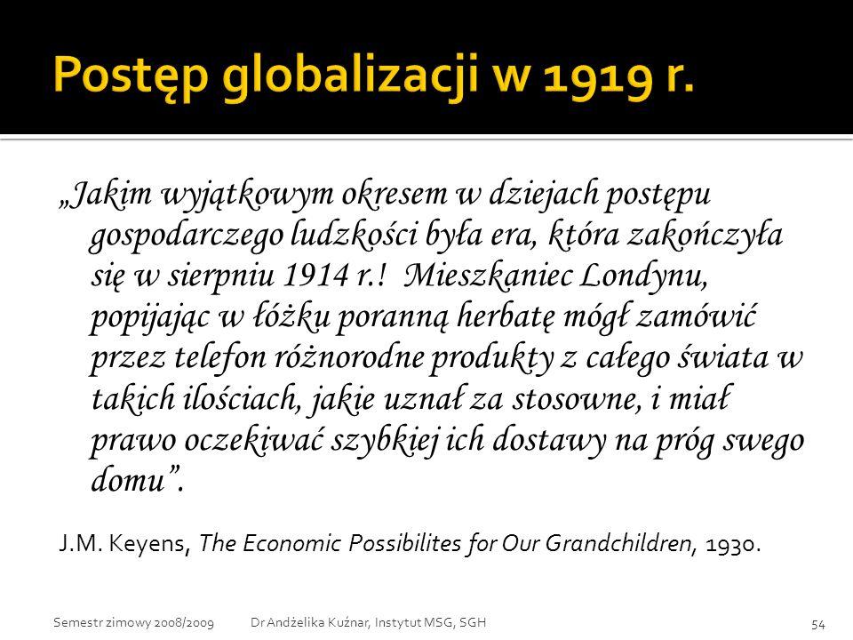 Postęp globalizacji w 1919 r.
