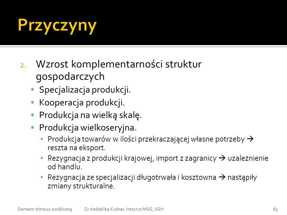 Przyczyny Wzrost komplementarności struktur gospodarczych