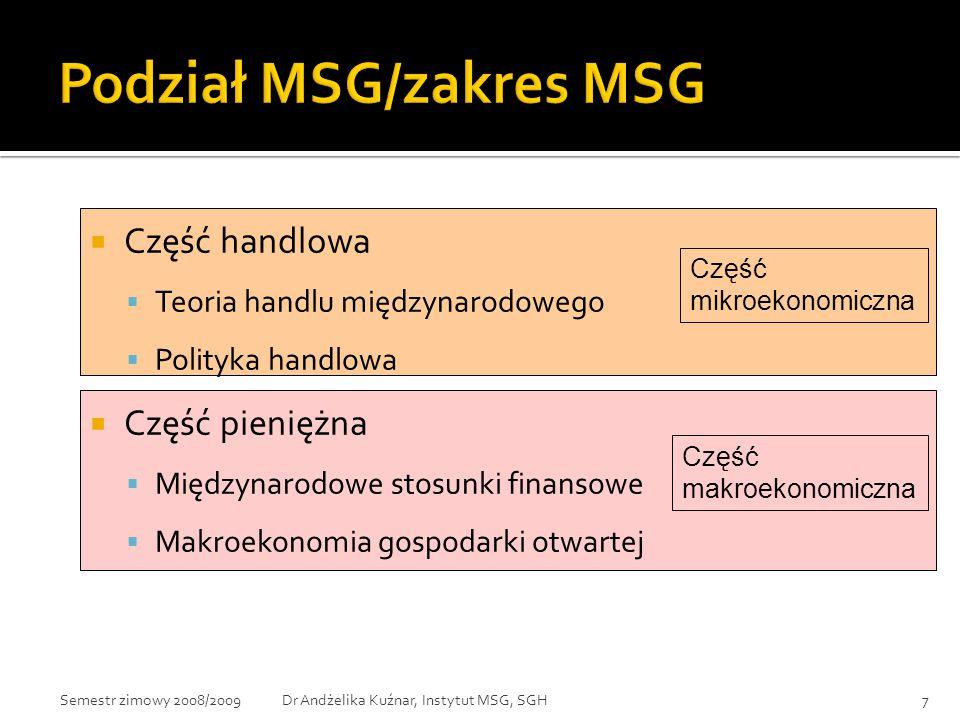 Podział MSG/zakres MSG