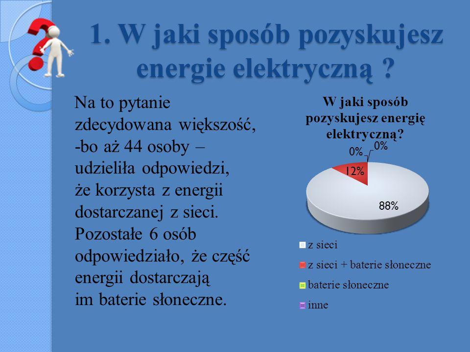 1. W jaki sposób pozyskujesz energie elektryczną