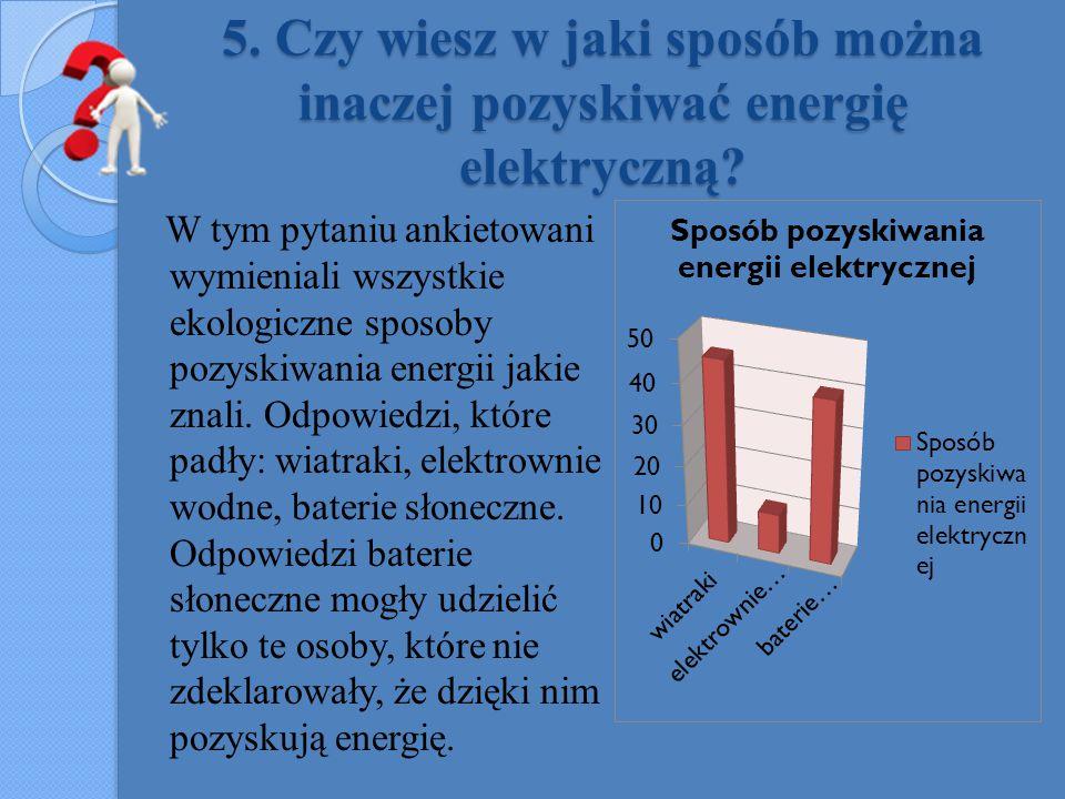 5. Czy wiesz w jaki sposób można inaczej pozyskiwać energię elektryczną