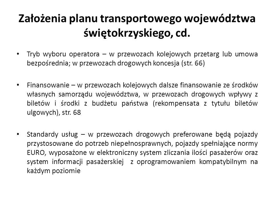 Założenia planu transportowego województwa świętokrzyskiego, cd.