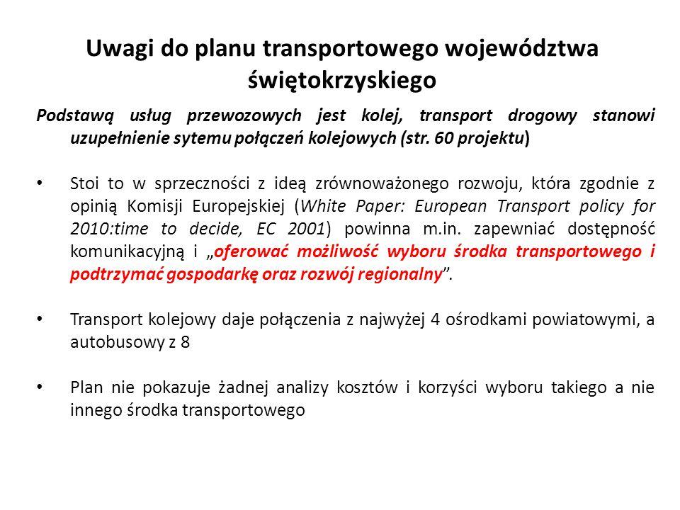 Uwagi do planu transportowego województwa świętokrzyskiego