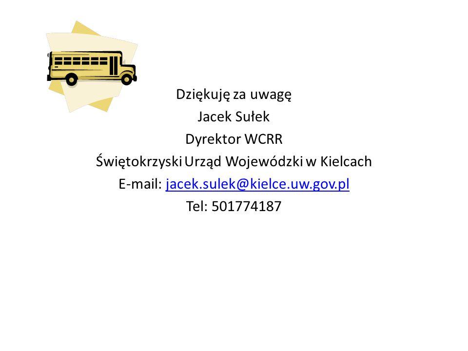 Dziękuję za uwagę Jacek Sułek Dyrektor WCRR Świętokrzyski Urząd Wojewódzki w Kielcach E-mail: jacek.sulek@kielce.uw.gov.pl Tel: 501774187
