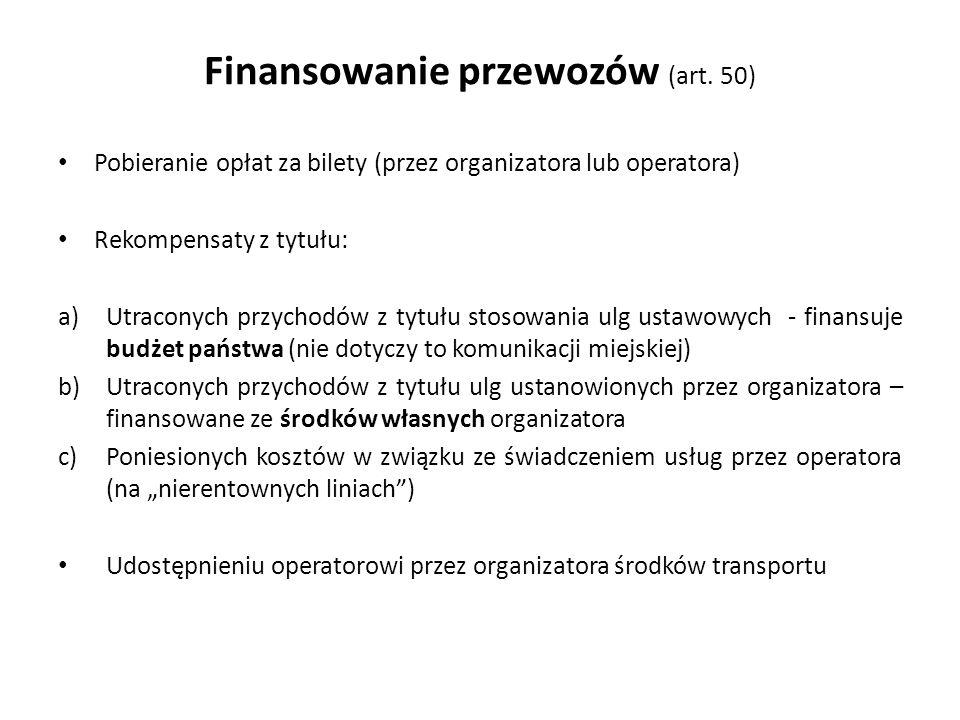 Finansowanie przewozów (art. 50)