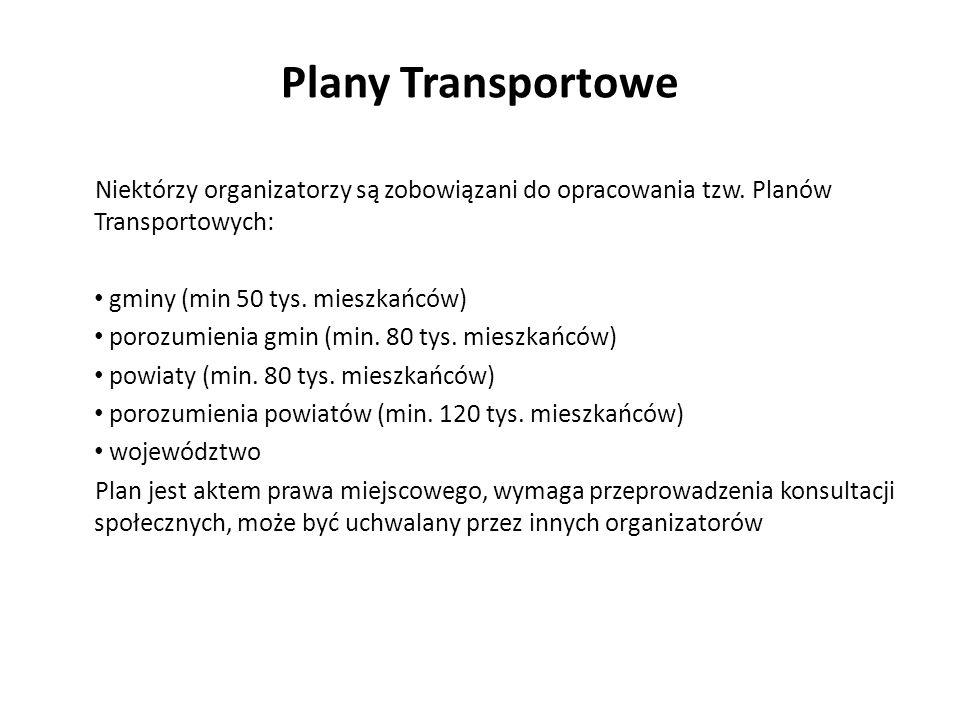 Plany Transportowe Niektórzy organizatorzy są zobowiązani do opracowania tzw. Planów Transportowych: