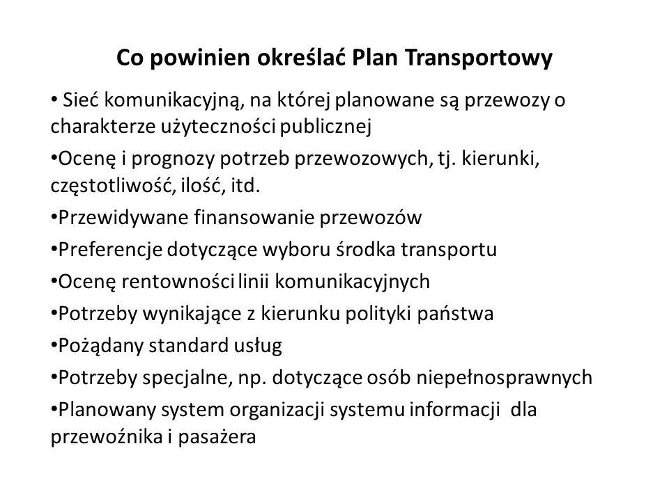 Co powinien określać Plan Transportowy