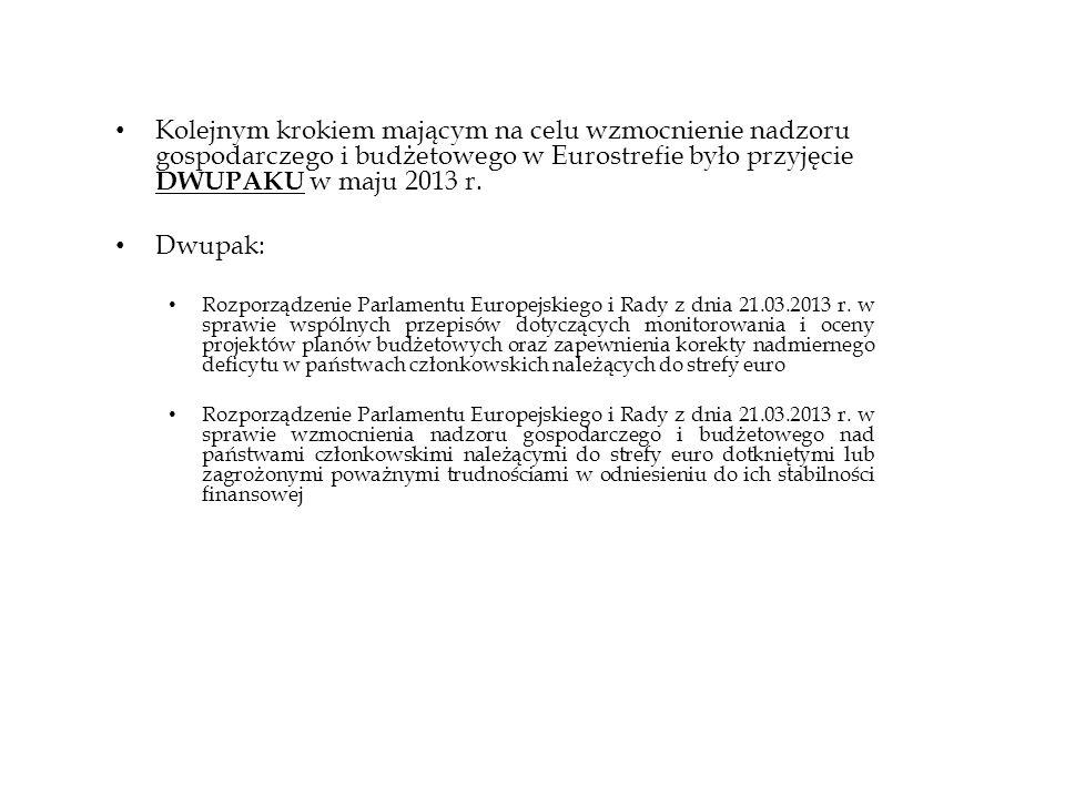 Kolejnym krokiem mającym na celu wzmocnienie nadzoru gospodarczego i budżetowego w Eurostrefie było przyjęcie DWUPAKU w maju 2013 r.