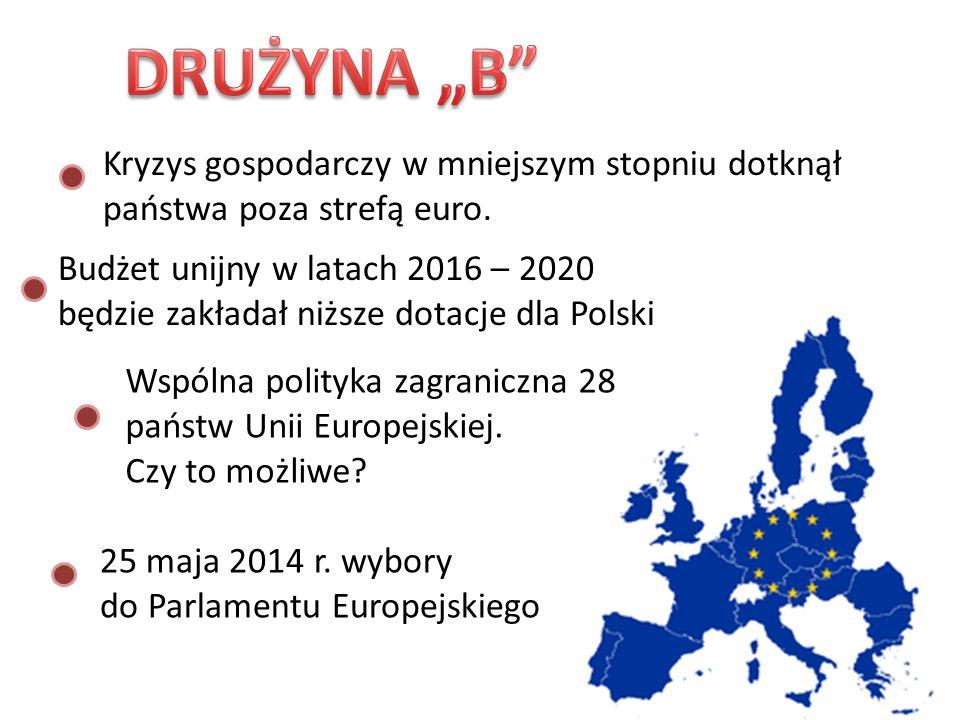 """DRUŻYNA """"B Kryzys gospodarczy w mniejszym stopniu dotknął państwa poza strefą euro. Budżet unijny w latach 2016 – 2020."""