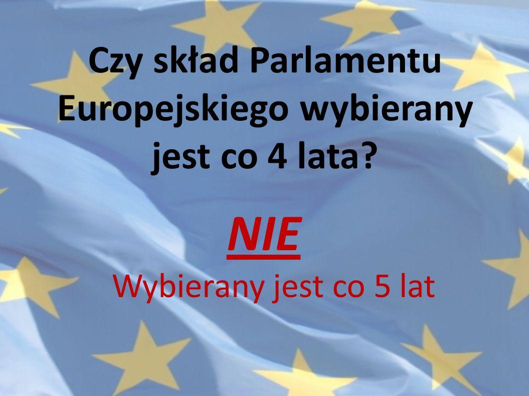 Czy skład Parlamentu Europejskiego wybierany jest co 4 lata