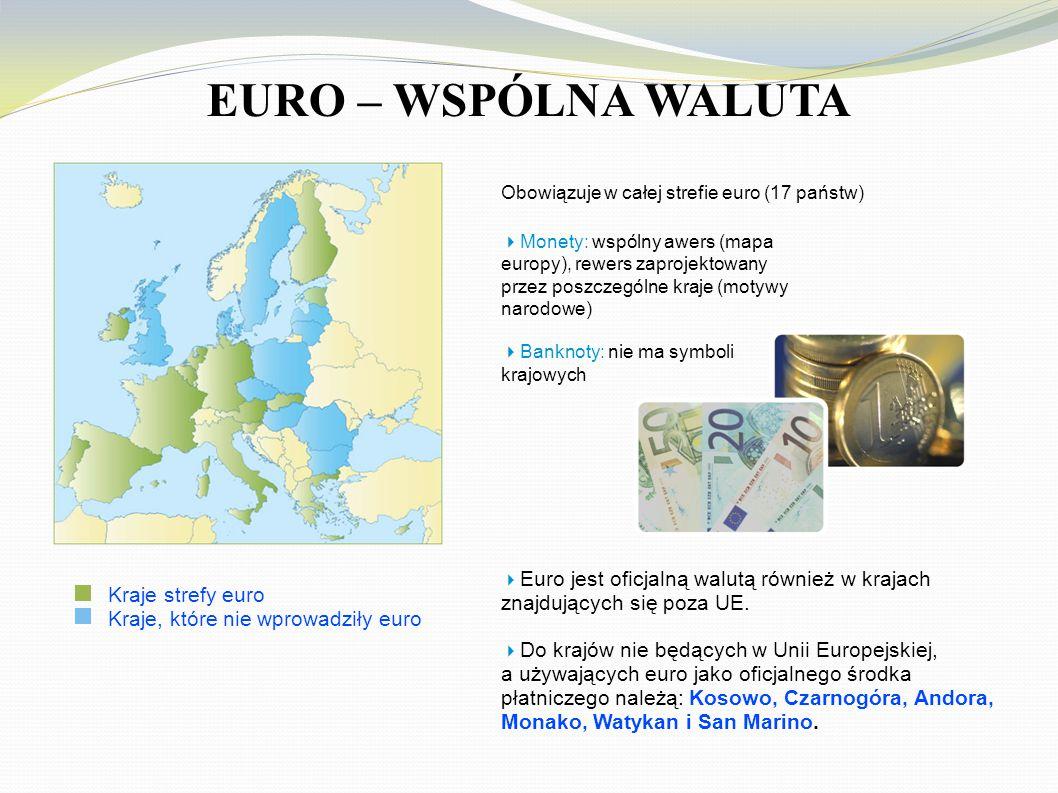EURO – WSPÓLNA WALUTA znajdujących się poza UE. Kraje strefy euro