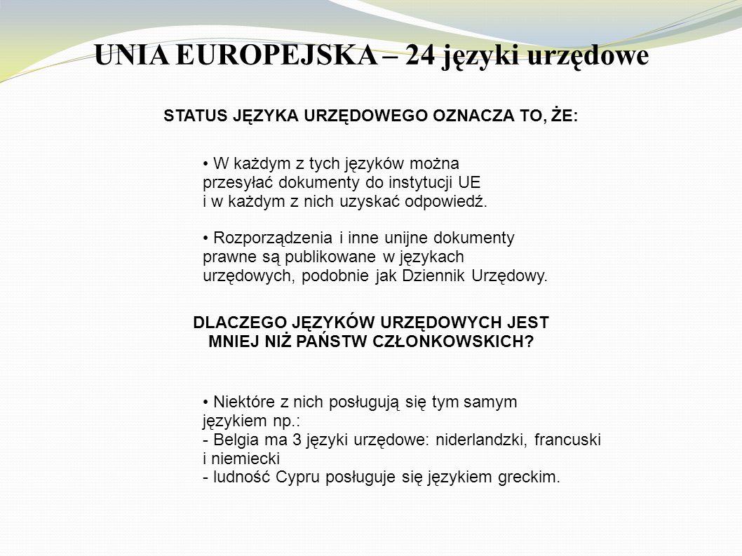 UNIA EUROPEJSKA – 24 języki urzędowe