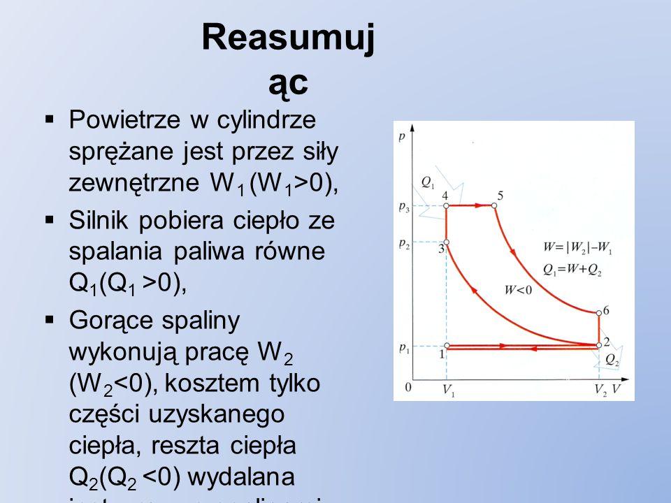 Reasumując Powietrze w cylindrze sprężane jest przez siły zewnętrzne W1 (W1>0), Silnik pobiera ciepło ze spalania paliwa równe Q1(Q1 >0),