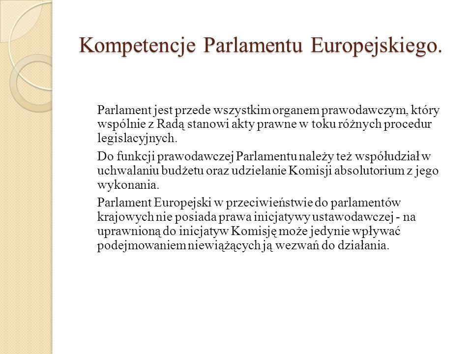 Kompetencje Parlamentu Europejskiego.