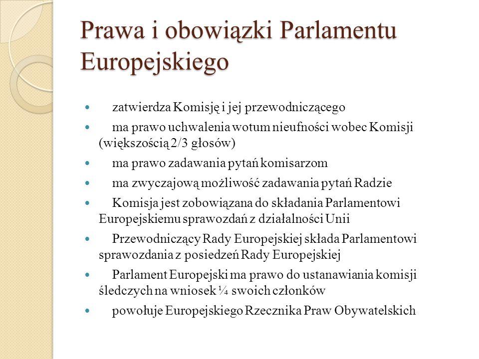 Prawa i obowiązki Parlamentu Europejskiego